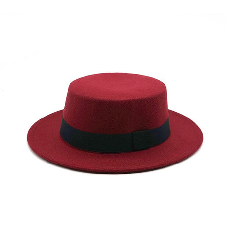 1TNSHRY Round Men's Red Boater Hat with Felt Brim
