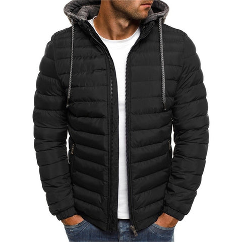 NARANJASABOR Men's Black Hooded Park Fleece Outwear Coat