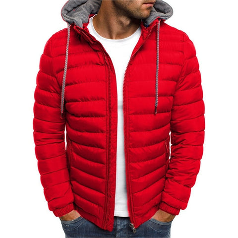 NARANJASABOR Men's Red Hooded Park Fleece Outwear Coat