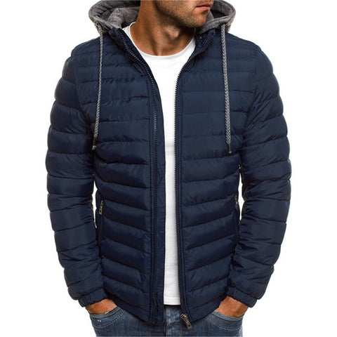 NARANJASABOR Men's Navy Blue Hooded Park Fleece Outwear Coat