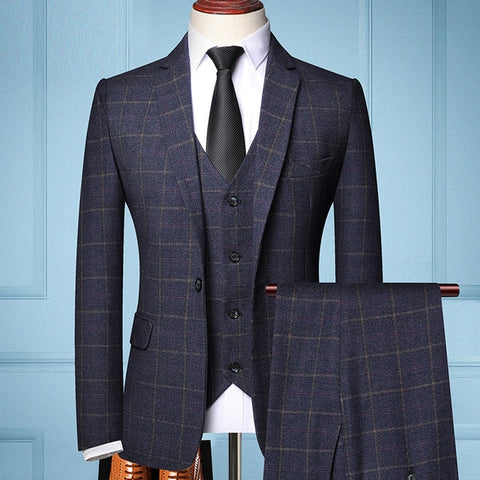 TIAN T9 Men's Blue Formal Business Tailored Three-piece Plaids Suit