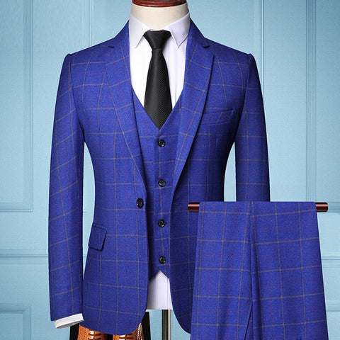 TIAN T9 Men's Sea Blue Formal Business Tailored Three-piece Plaids Suit