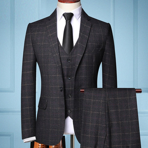 TIAN T9 Men's Black Formal Business Tailored Three-piece Plaids Suit