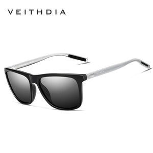 VEITHDIA TR90 Men's Black Silver Polarised Sunglasses With Reinforced Frames