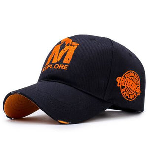 MAERSHEI Men's Black Orange Embroidered Baseball Cap With Adjustable Comfort Strap