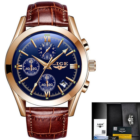 LIGE Men's Cofee & Blue Premium Leather Waterproof Watch