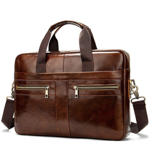 WESTAL A4 Men's Coffee Genuine Leather Briefcase Bag