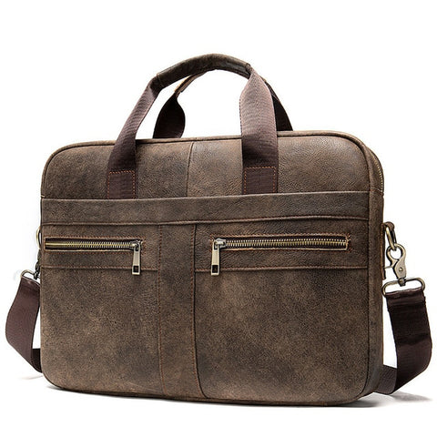 WESTAL A4 Men's Frosted Coffee Genuine Leather Briefcase Bag