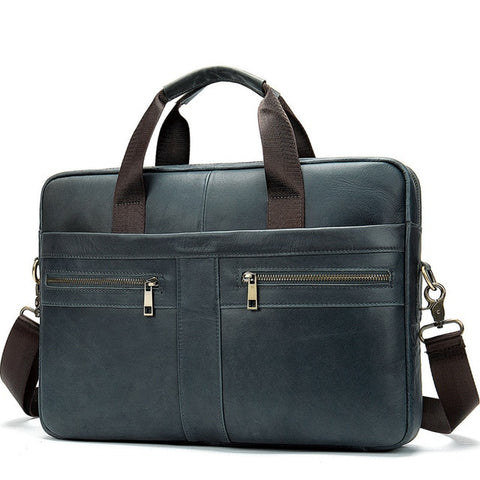 WESTAL A4 Men's Gray Genuine Leather Briefcase Bag