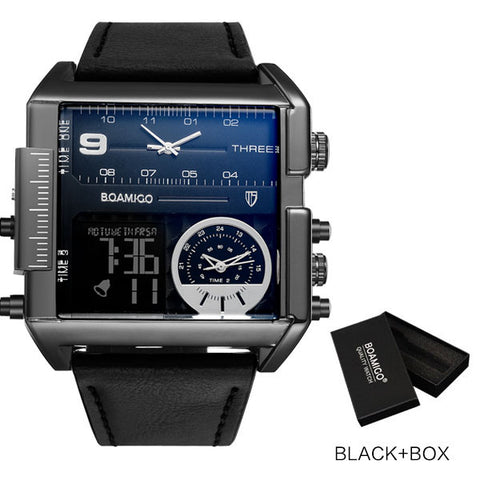 BOAMIGO Men's Black Time Zone LED Watch