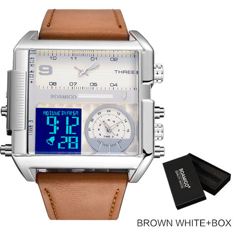 BOAMIGO Men's Brown & White Time Zone LED Watch