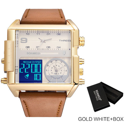 BOAMIGO Men's Gold & White Time Zone LED Watch