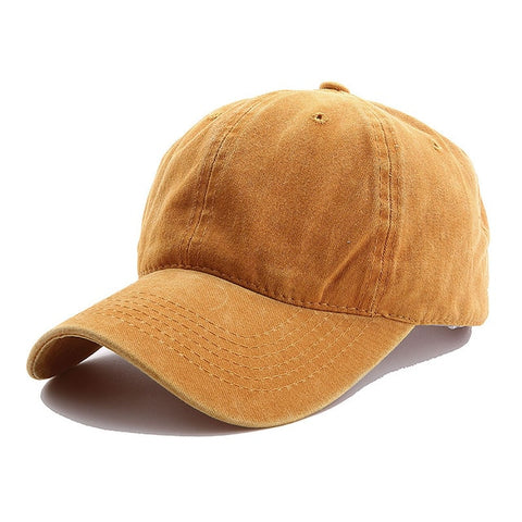 AYACO MKAP01 Solid Men's Yellow Cotton Cap With Vintage Texture
