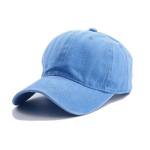 AYACO MKAP01 Solid Men's Light Blue Cotton Cap With Vintage Texture