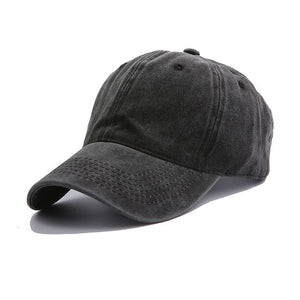 AYACO MKAP01 Solid Men's Black Cotton Cap With Vintage Texture