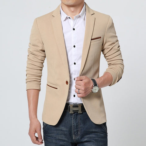 FGKKS Luxury Cotton Men's Beige Smart Casual Blazer