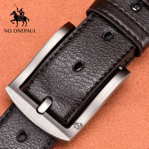 Open image in slideshow, NO.ONEPAUL Men's Z222 Coffee Genuine Leather Belt Strap With Vintage Pin Buckle