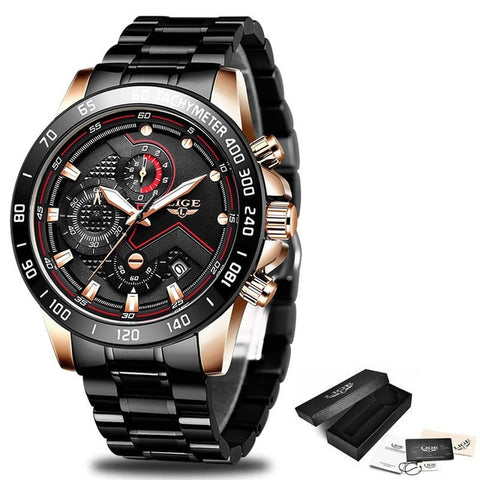 LIGE Men's Black & Gold Chronograph Quartz Watch