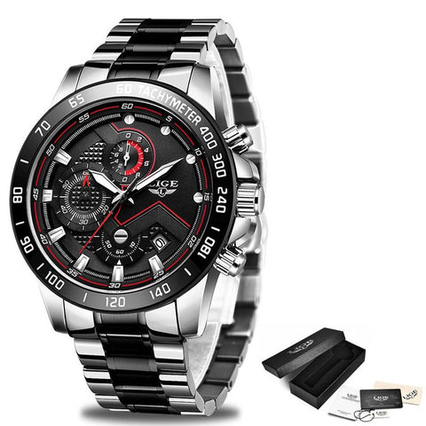 LIGE Men's Silver & Black Chronograph Quartz Watch