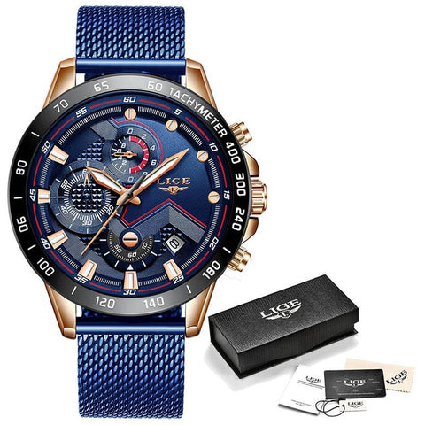 LIGE Men's Blue & Rose Gold Chronograph Quartz Watch