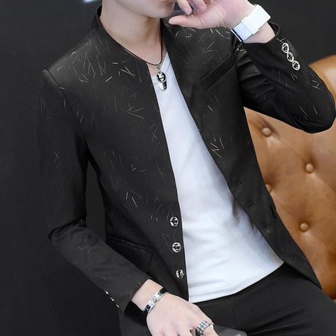 Acetate Men's Black Slim Fit Blazer