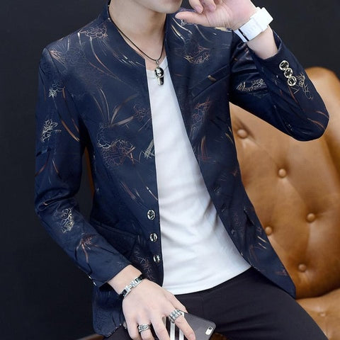 Acetate Men's Navy Slim Fit Blazer