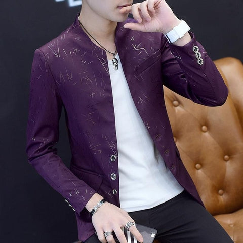 Acetate Men's Purple Slim Fit Blazer