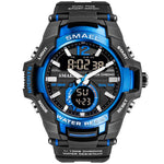 SMAEL Men's Black Blue Army Sports Watch