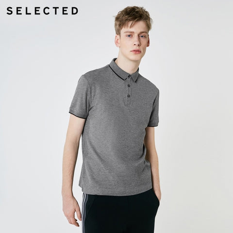 SELECTED Men's Mid Grey Summer Turn-down Collar Short-sleeved Polo Shirt