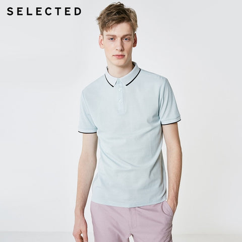 SELECTED Men's Pastel Blue Summer Turn-down Collar Short-sleeved Polo Shirt