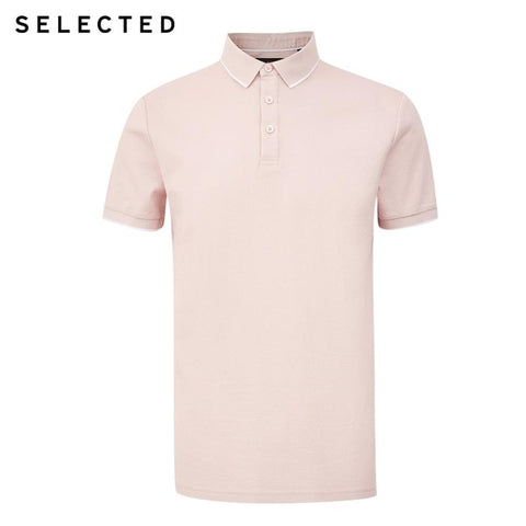 SELECTED Men's Dirty Pink Summer Turn-down Collar Short-sleeved Polo Shirt