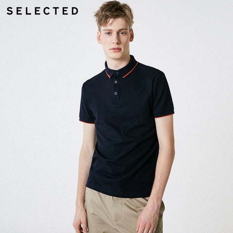 SELECTED Men's Electric Blue Summer Turn-down Collar Short-sleeved Polo Shirt