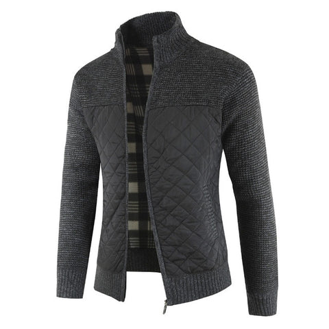 MOUNTAINSKIN Men's Black Winter Knitted Cardigan Sweaters