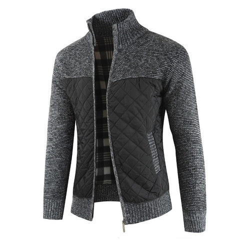 MOUNTAINSKIN Men's Dark Grey Winter Knitted Cardigan Sweaters