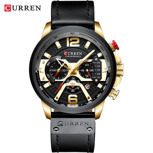 CURREN 8329 Men's Gold Black Top Luxury Wrist Watch with Military Leather Strap