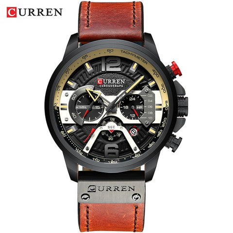 CURREN 8329 Men's Black Top Luxury Wrist Watch with Military Leather Strap