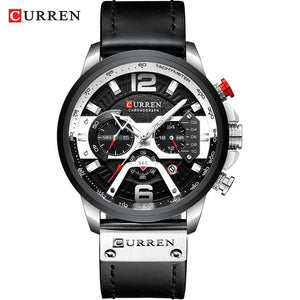 Open image in slideshow, CURREN 8329 Men's Silver Black Steel Top Luxury Wrist Watch with Military Leather Strap