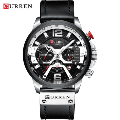 CURREN 8329 Men's Silver Black Steel Top Luxury Wrist Watch with Military Leather Strap