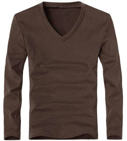 MRMT Men's V Coffee Classic Long Sleeve T-Shirt V-Neck
