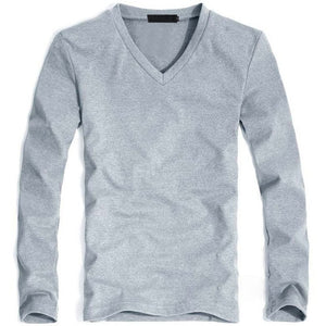 MRMT Men's V Light Gray Classic Long Sleeve T-Shirt V-Neck