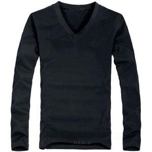 Open image in slideshow, MRMT Men's V Black Classic Long Sleeve T-Shirt V-Neck