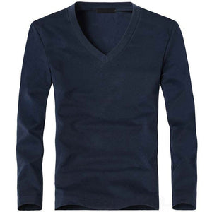 MRMT Men's V Navy Classic Long Sleeve T-Shirt V-Neck