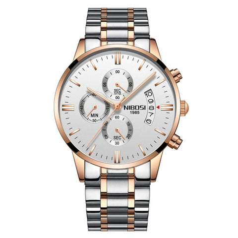 NIBOSI 2309 Men's RoseGold White Steel Luxury Wrist Watch with Shock Resistant Casing