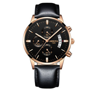 NIBOSI 2309 Men's Rose Black Alloy Luxury Wrist Watch with Shock Resistant Casing