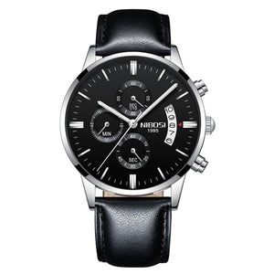 NIBOSI 2309 Men's Silver Black Leather Luxury Wrist Watch with Shock Resistant Casing