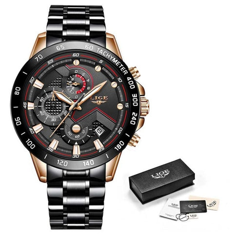 LIGE Men's Black & Rose Gold Fashion Waterproof Chronograph Watch