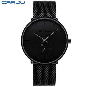 CRRJU 2150 Men's Black Quartz Watch With Stainless Steel Mesh Strap