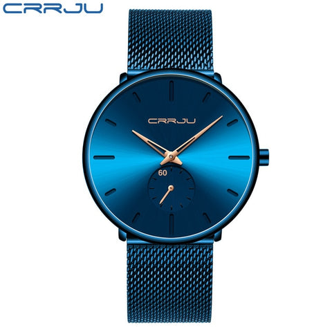 CRRJU 2150 Men's Titan Blue Quartz Watch With Stainless Steel Mesh Strap