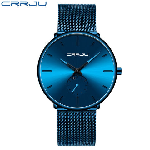 CRRJU 2150 Men's Blue Quartz Watch With Stainless Steel Mesh Strap