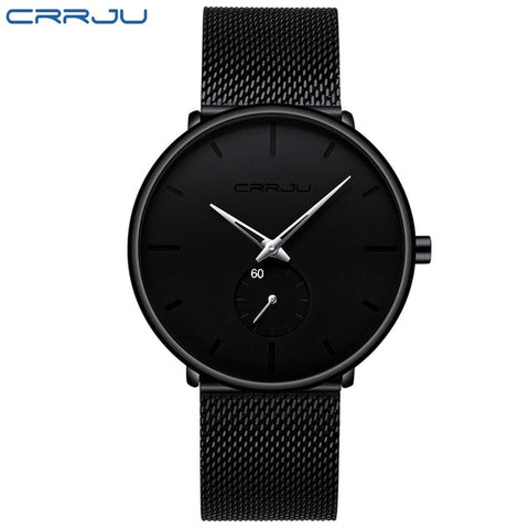 CRRJU 2150 Men's Silver Quartz Watch With Stainless Steel Mesh Strap